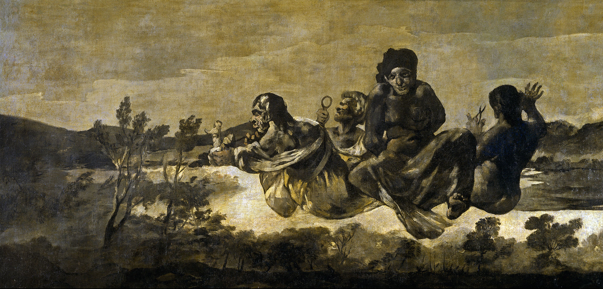 Atropos, the goddess of death, in black and white painting