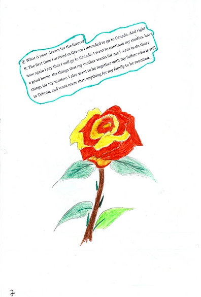 Pencil crayon drawing of a rose with thorns, accompanied by text describing a girl's dream to move to Canada.