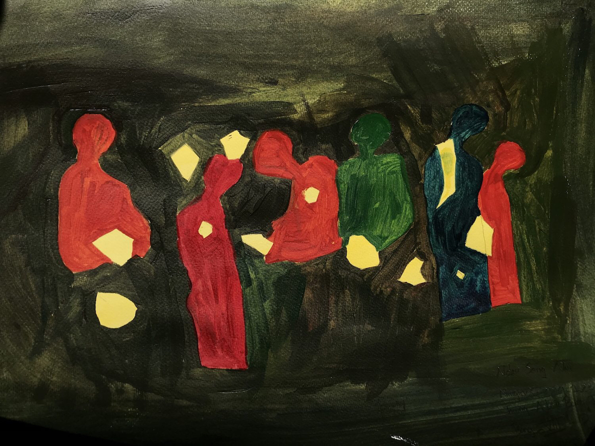 Painting of red and green figures on a black backdrop, with yellow shapes in the foreground.