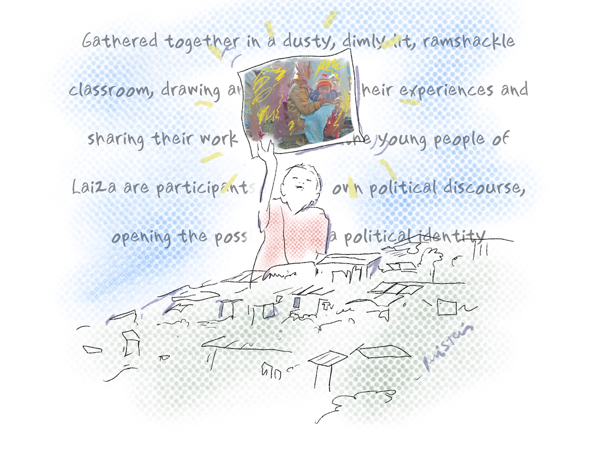 Drawing of a child holding up a painting of refugees. Behind them is a quote from the preceeding paragraph.