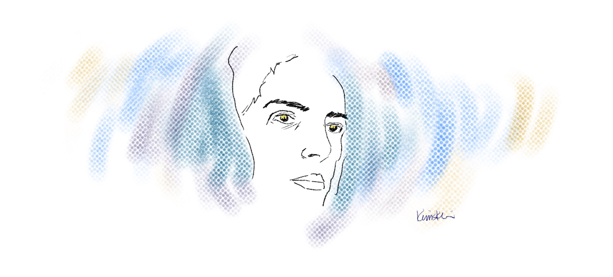 Drawing of a woman's face with subdued colours around it.