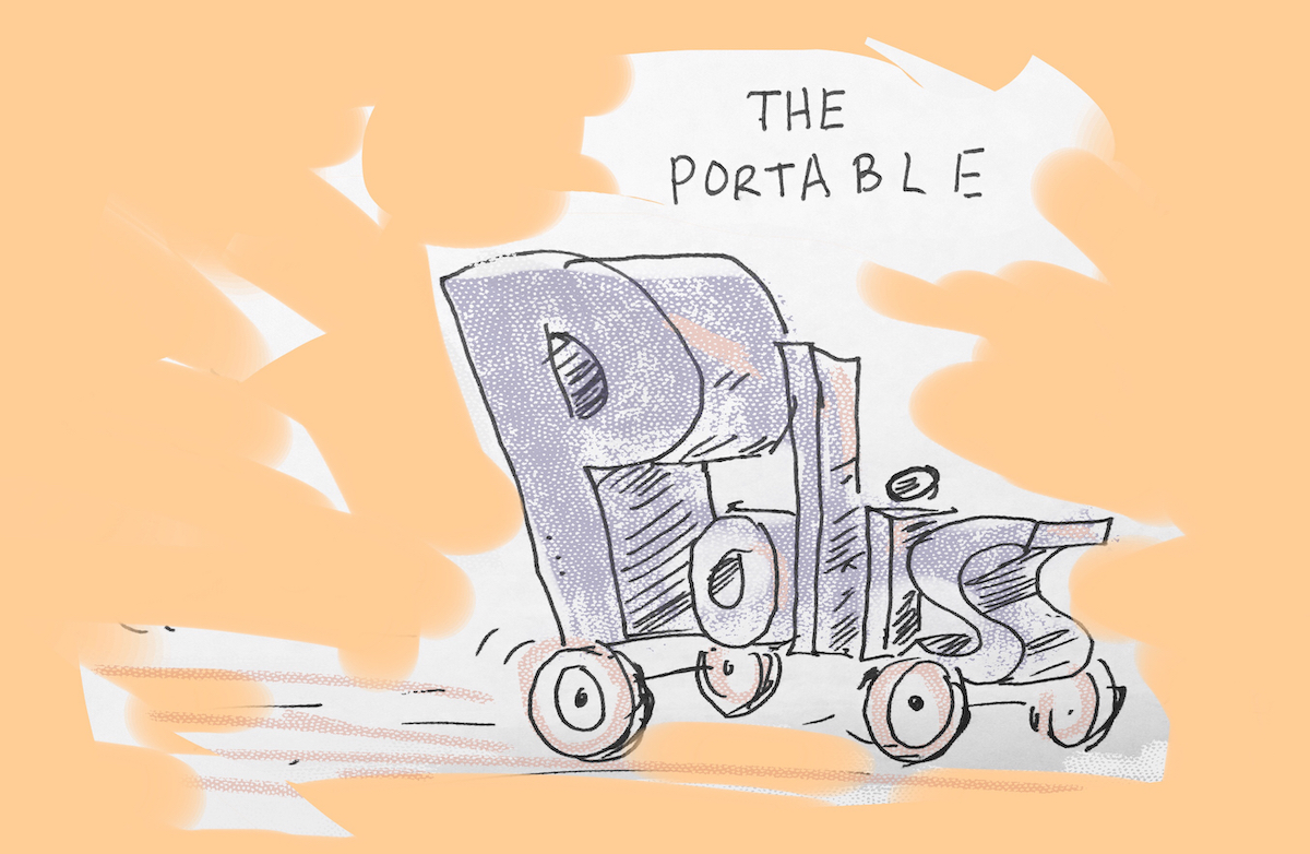 """Drawing that reads, """"The Portable Polis,"""" with the word polis driving on wheels."""
