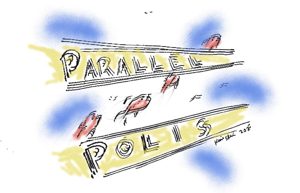 """Fish jumping through the air, with the words """"Parallel Polis"""" in front of them"""