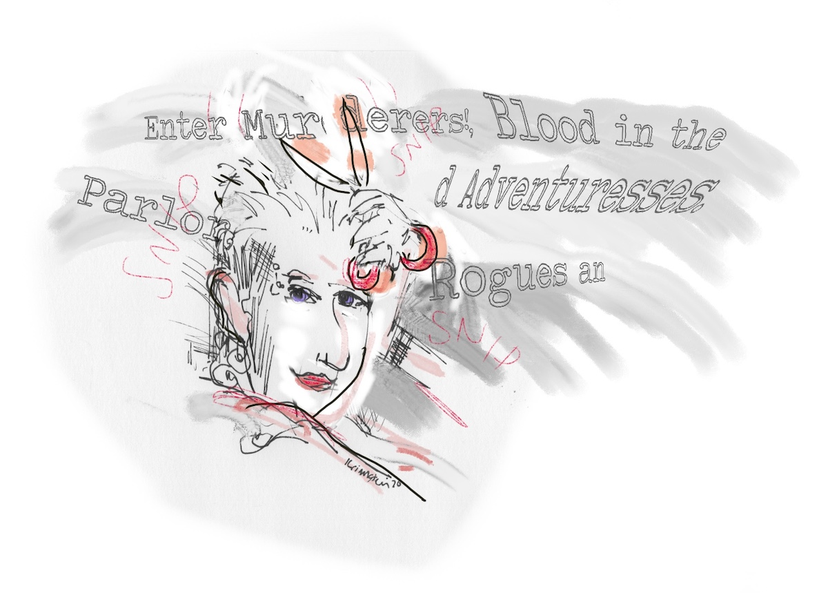 Drawing of Kathy Acker with scissors, cutting up words that are floating around her.