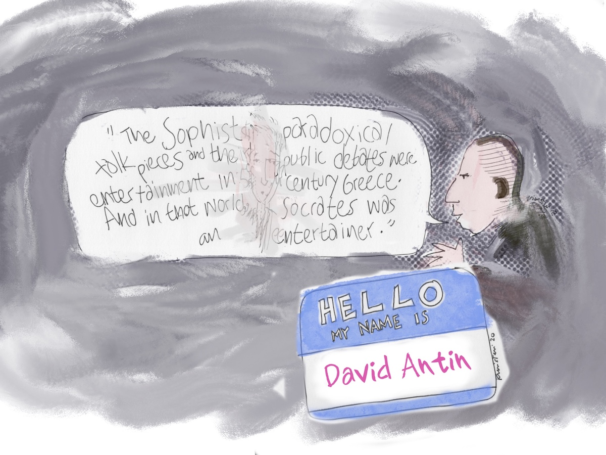 """""""David Antin"""" name tag, with a drawing of him talking about Socrates, with a portrait of Kathy Acker floating in the speech bubble."""