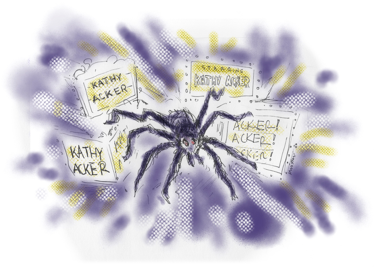 Drawing of a tarantula surrounded by Kathy Acker's name on shining marquees.