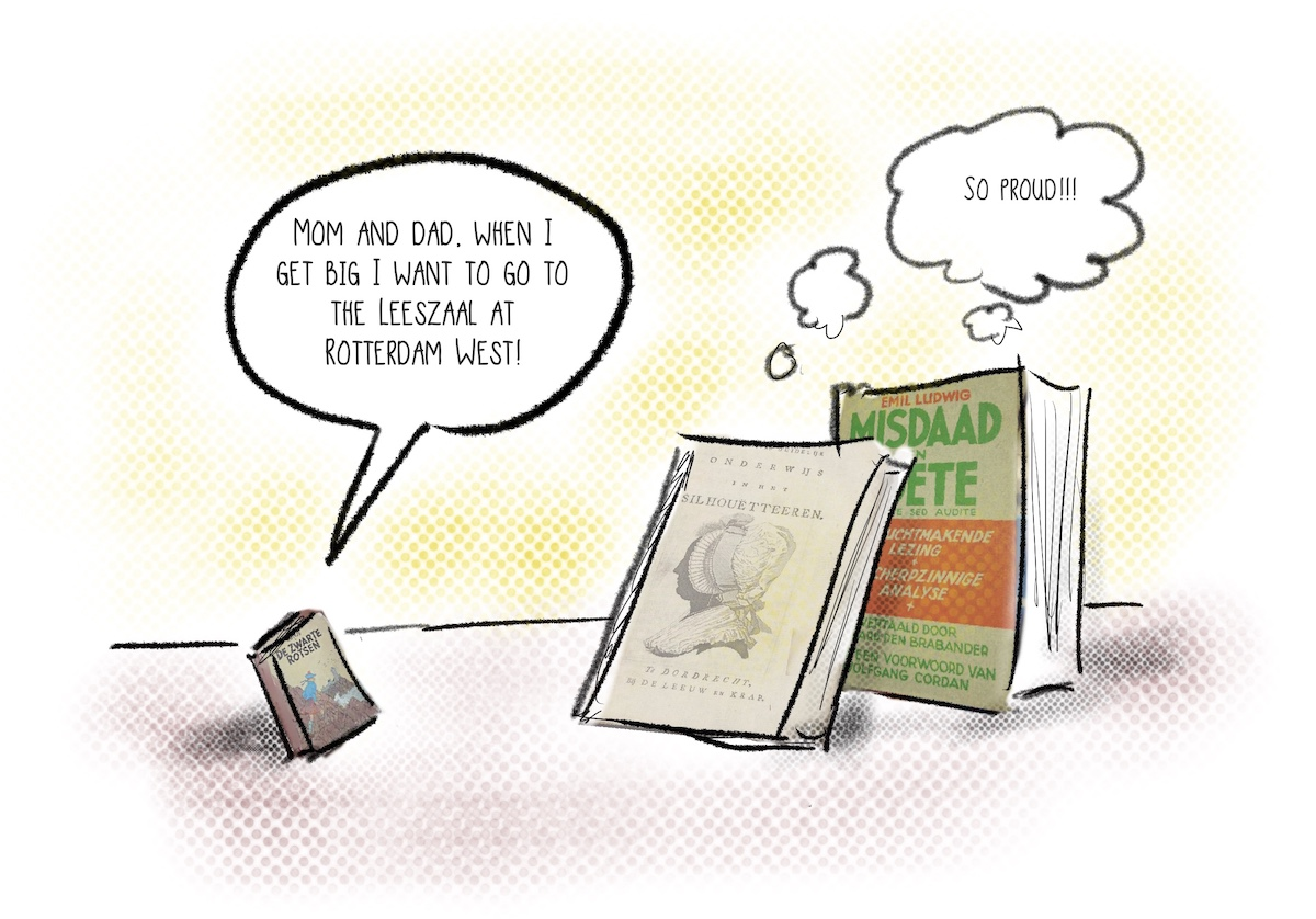 """Drawing of a small book speaking to their """"Mom and Dad"""" books, saying they want to go to Lesszaal when they grow up."""