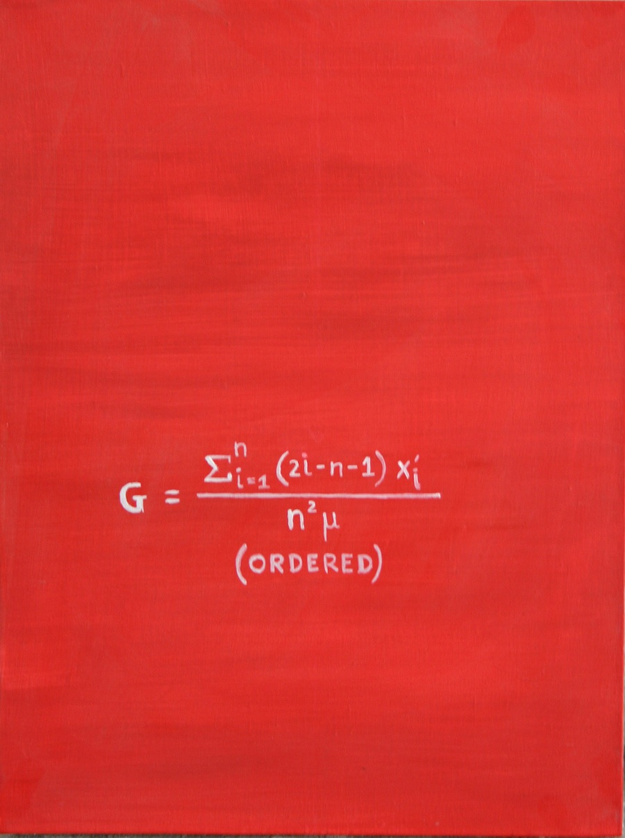 """Red paint on white canvas with mathematical equation representing """"ordered"""""""