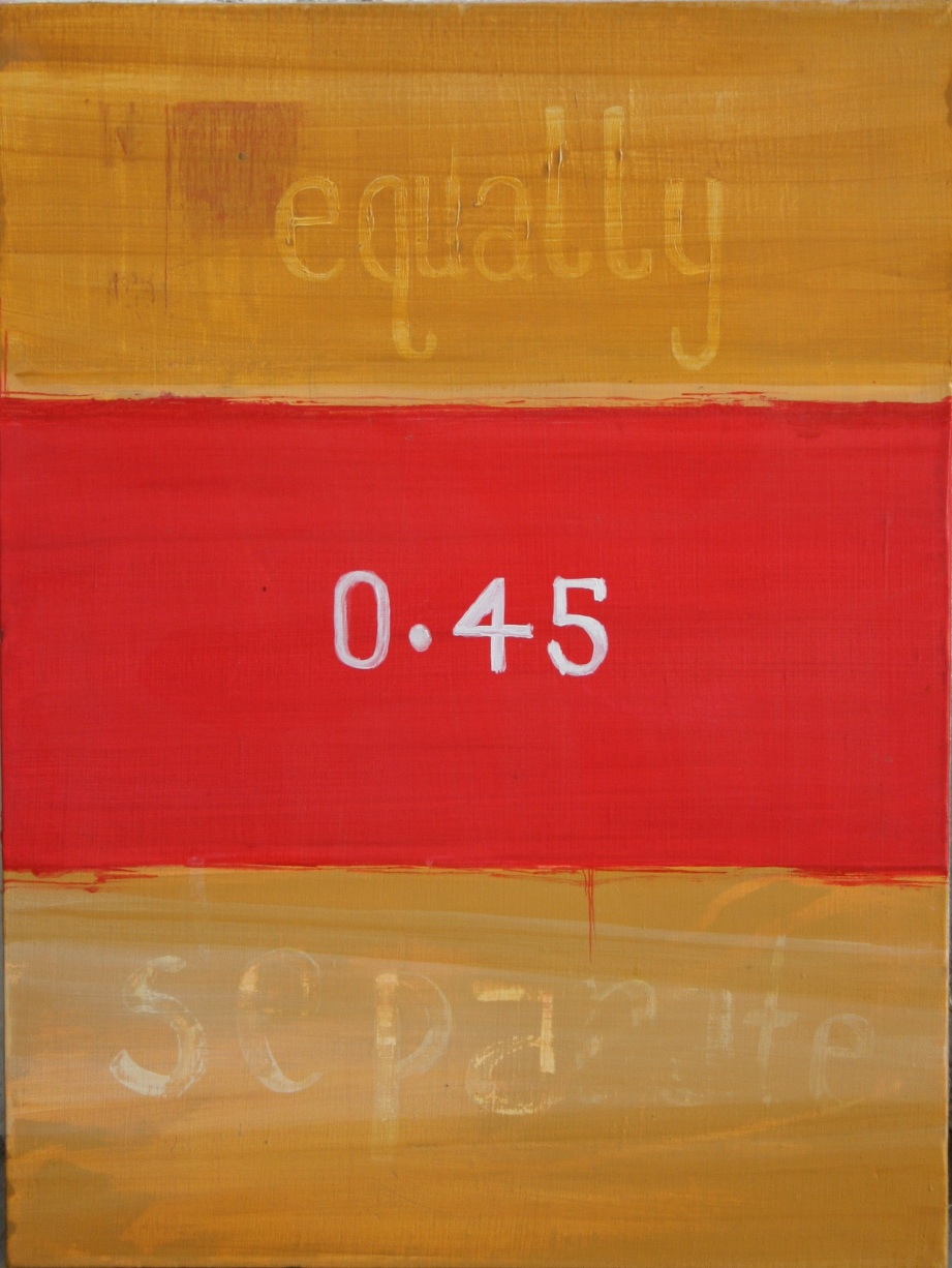 """gold and red bars on canvas with word """"equally"""" and numbers """"0.45"""" in middle"""