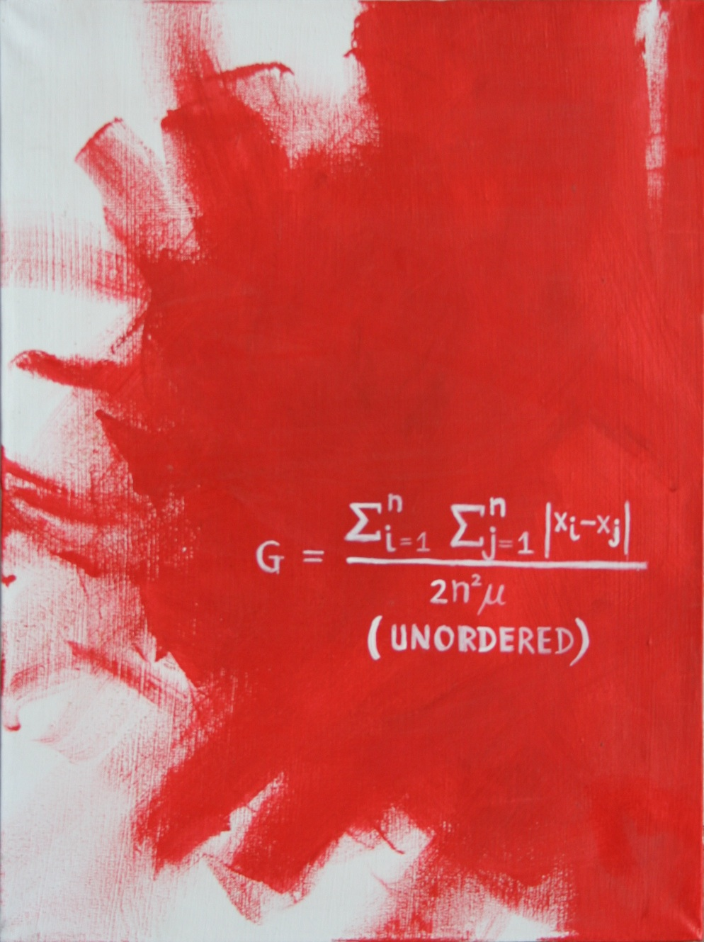 """Red paint on white canvas with a mathematical equation symbolizing """"unordered"""""""