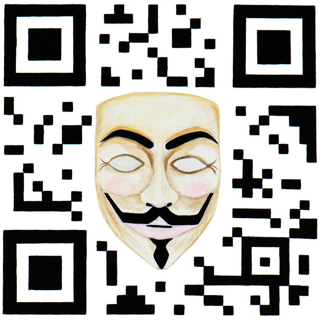 QR Code illustration with Guy Fawkes mask