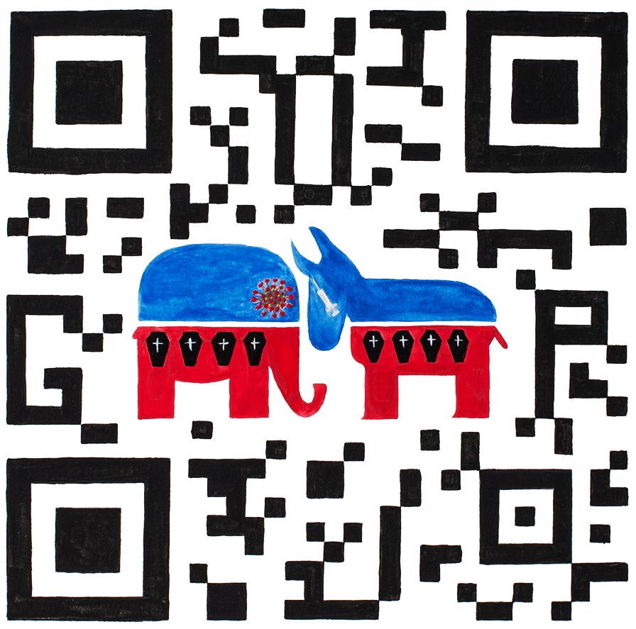 QR Code illustration with symbols of Democratic and Republican parties