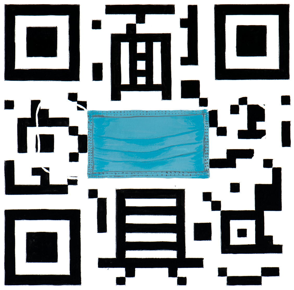 QR Code illustration with safety mask