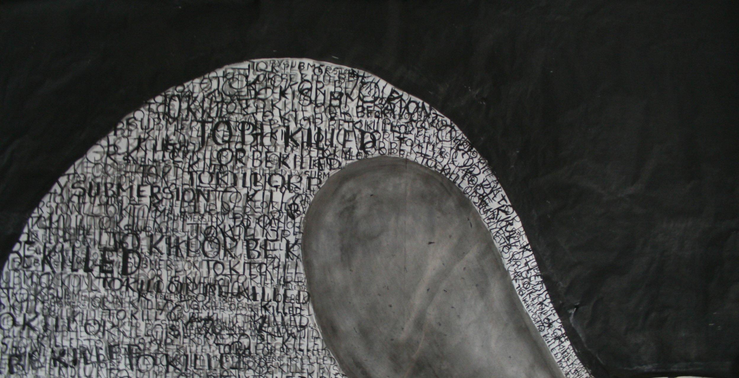 painting of black wave crashing