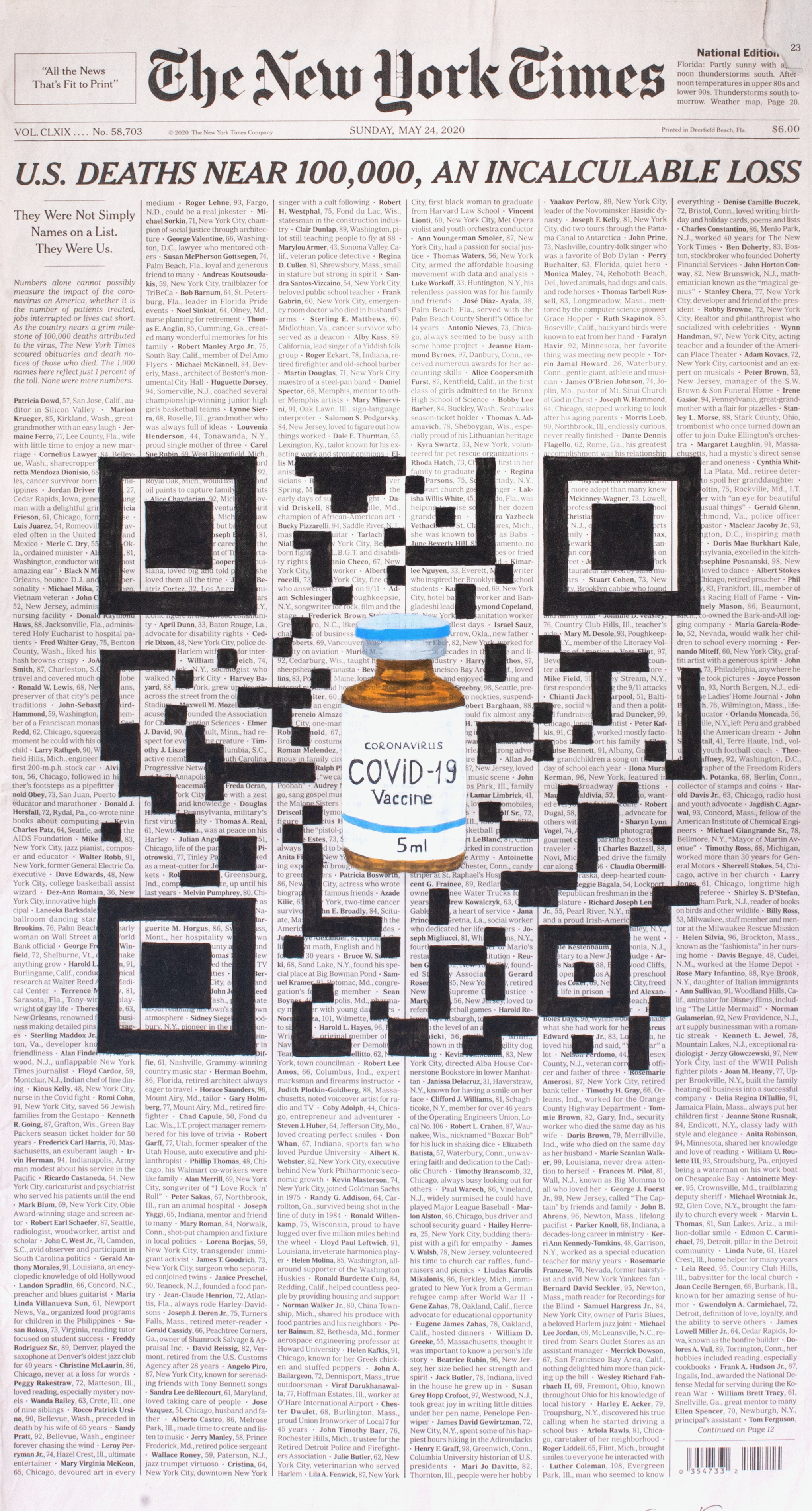 QR Code illustration with Covid vaccine pill bottle