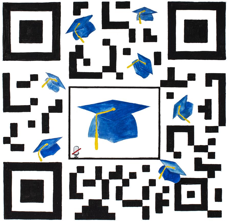 QR Code illustration with graduation hats