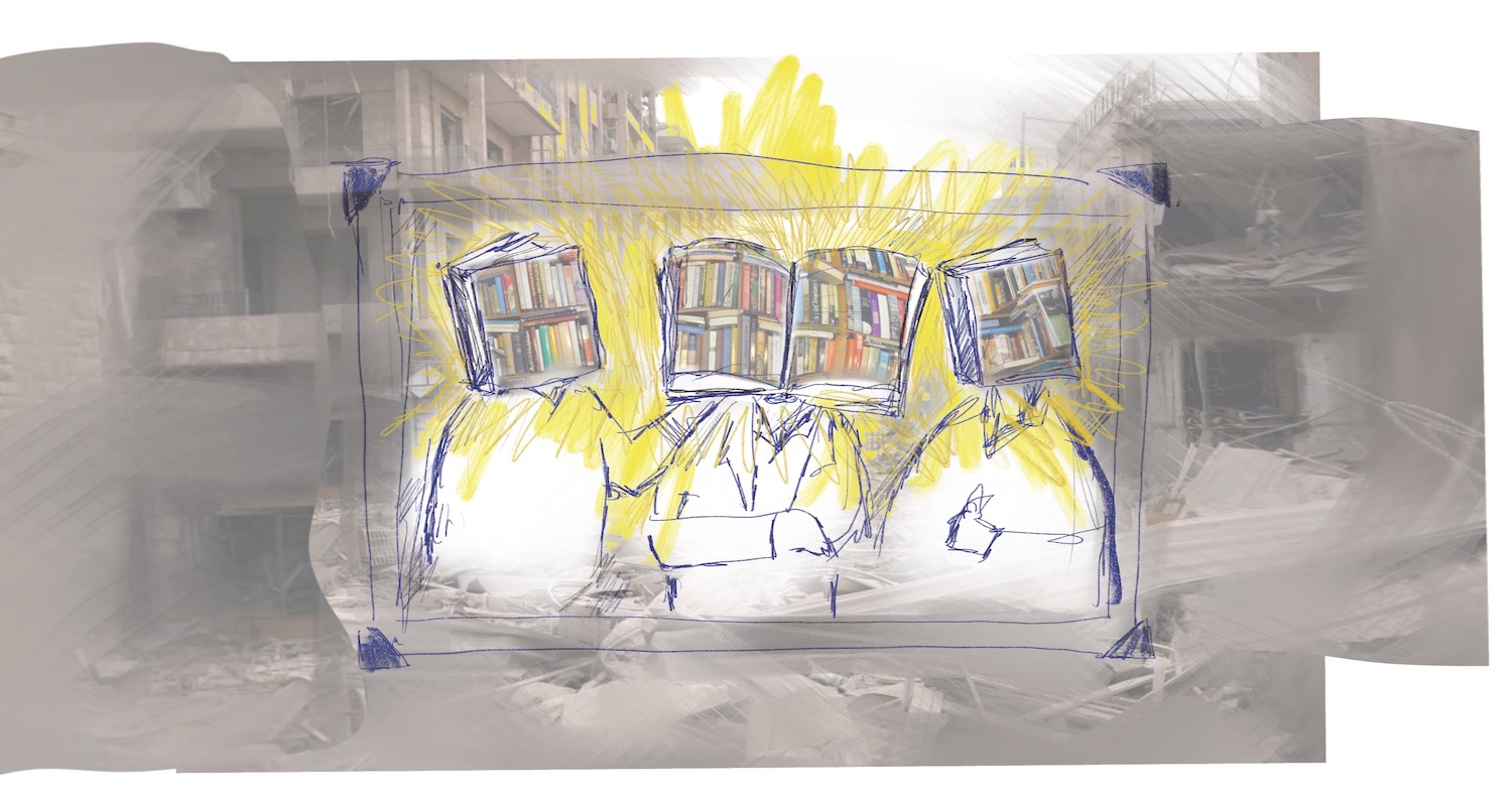 Drawing of three people with books for heads, superimposed on a photograph of bombed out buildings