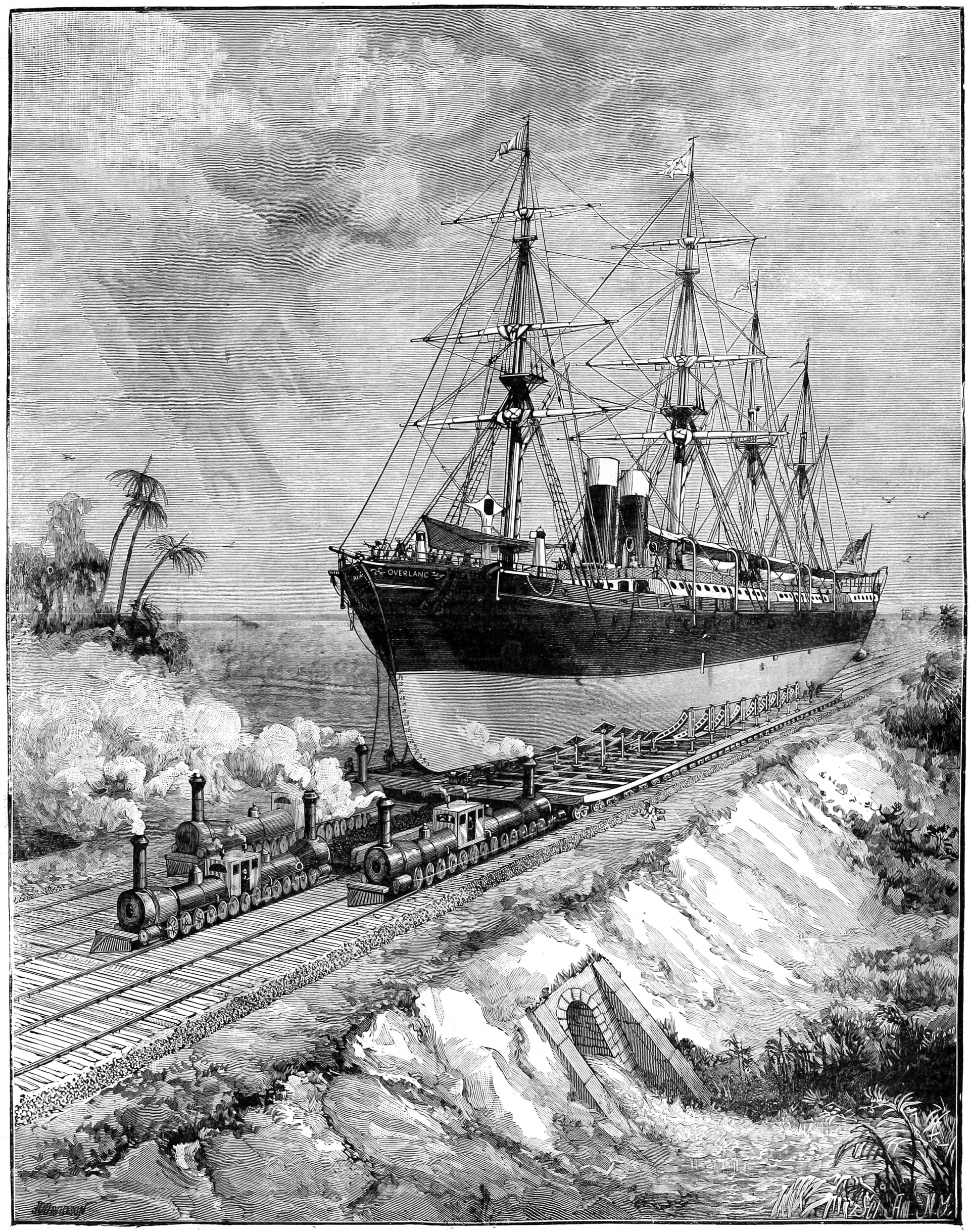 rending of massive ship being pulled along a railway by trains
