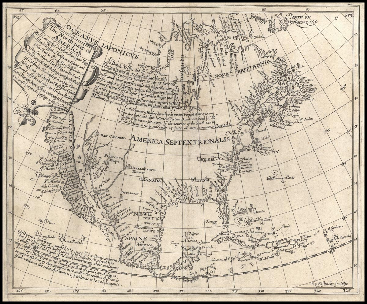 17th century map of the North American coast with phantom islands and straits.