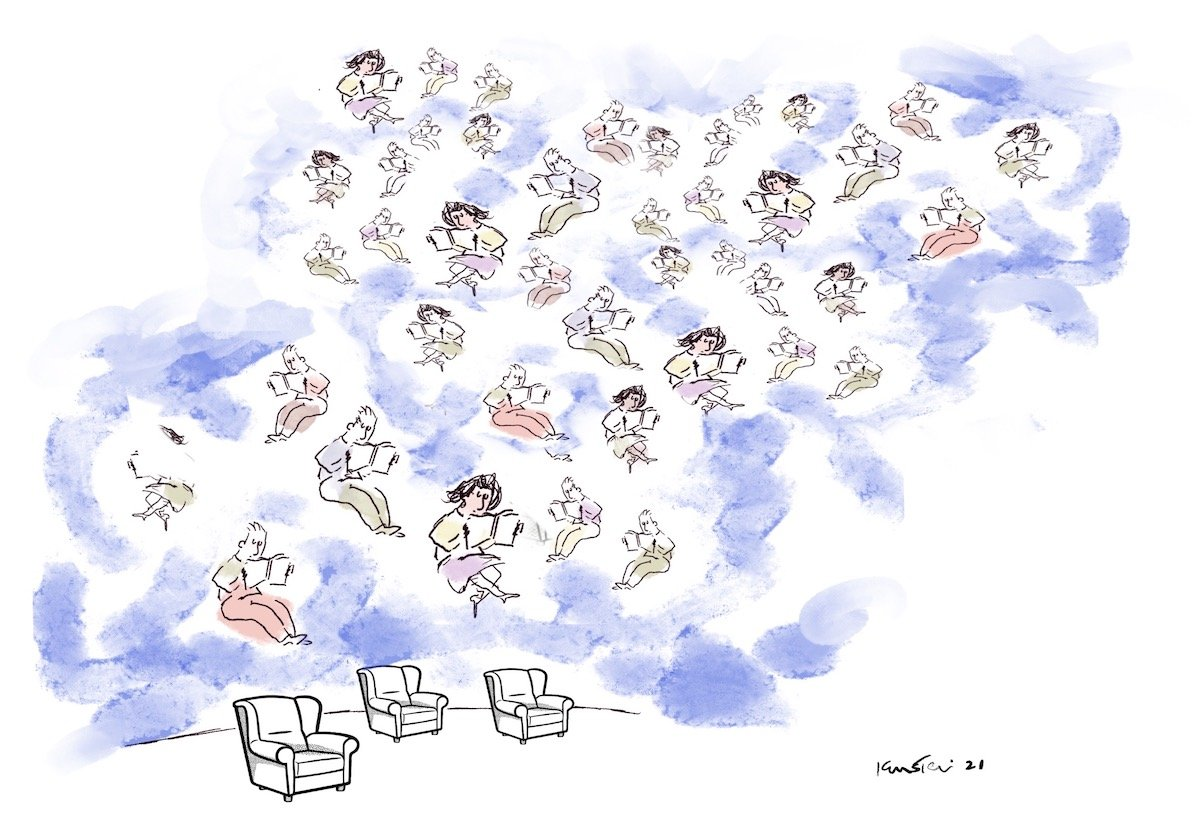 Many readers float in the air above three armchairs.