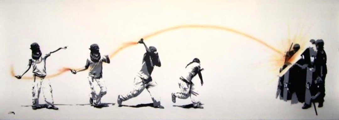 painting of people wearing balaclava throwing molotov