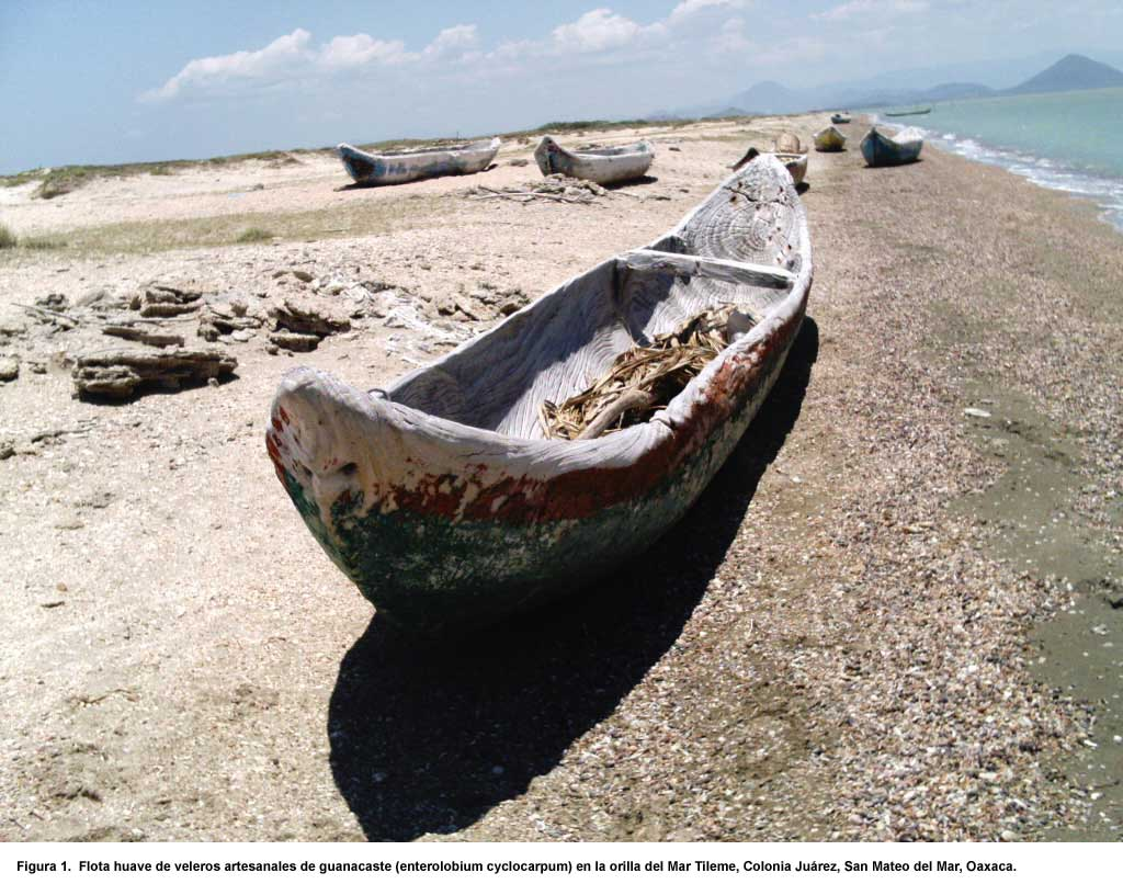 wooden Huave boat docked on the sand