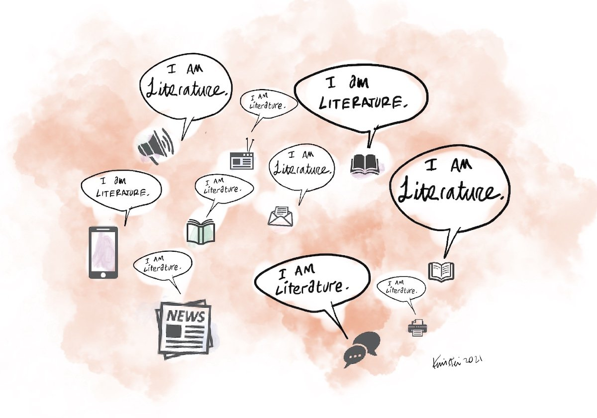 """Icons of different forms of texts, including books, a cell phone, a radio, a megaphone, and a printer. Each icon has a speech bubble that reads """"I am literature."""""""