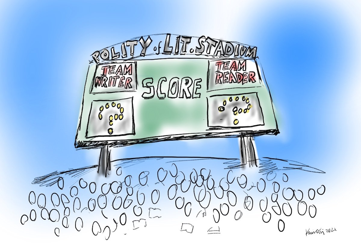 """Drawing of a stadium scoreboard, with """"Team Writer"""" and """"Team Reader"""" both at a score of """"question mark"""""""