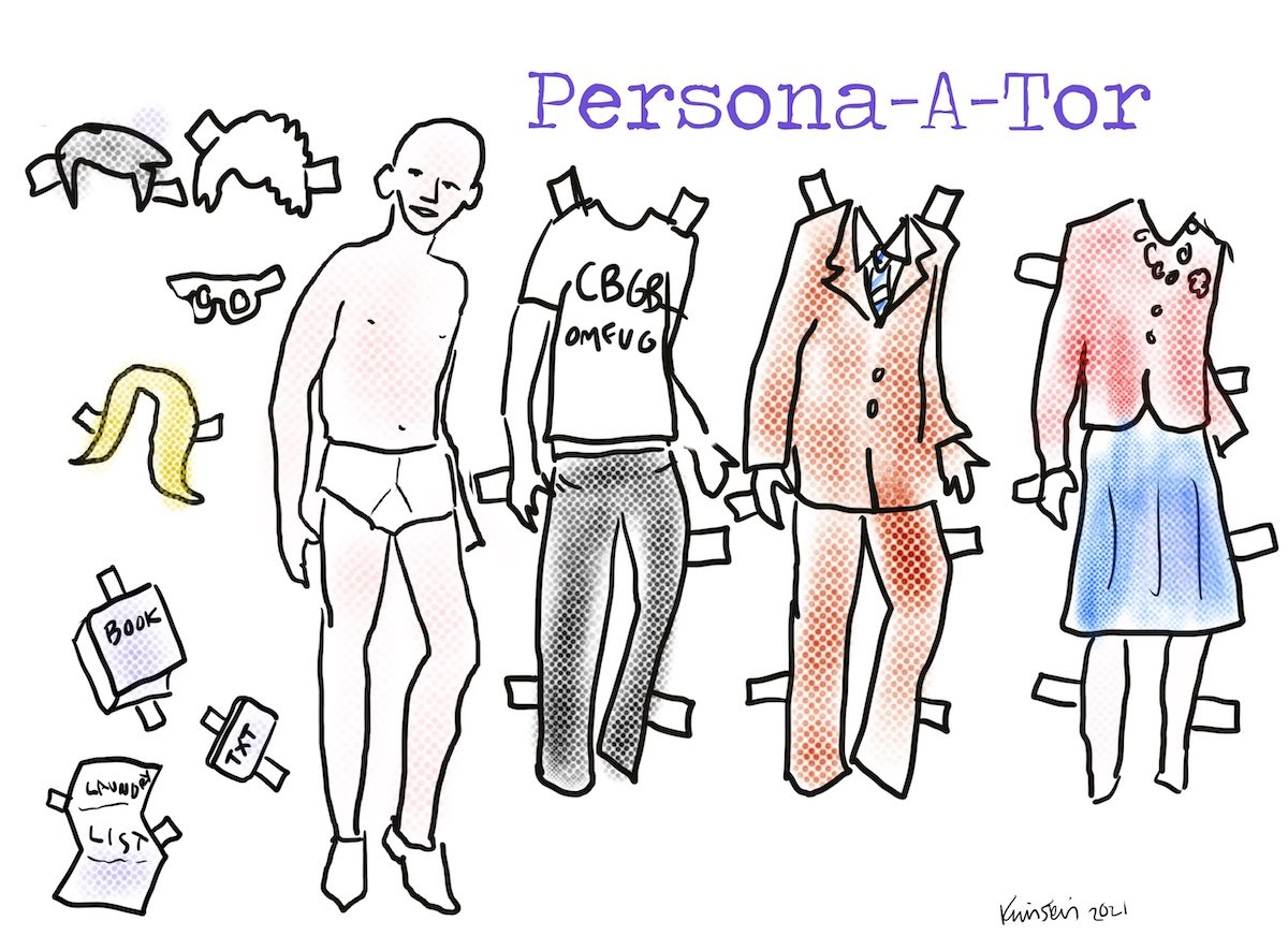 Drawing of paper doll cutouts with different outfits, hair, and accessories.