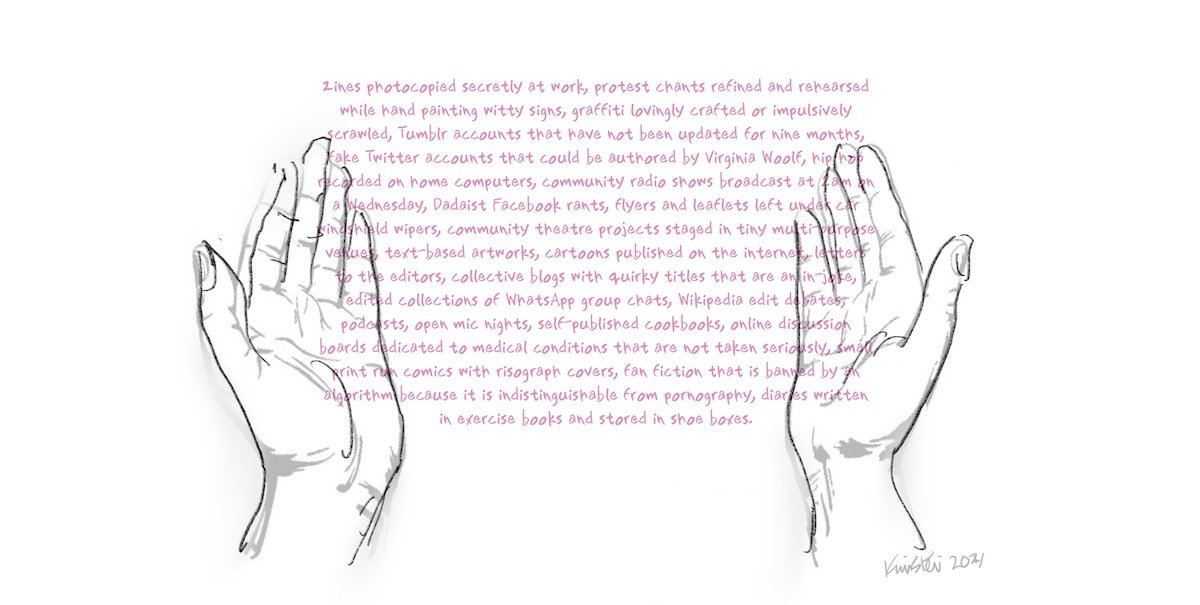 """Two hands holding text that lists examples of """"non-literary"""" texts"""