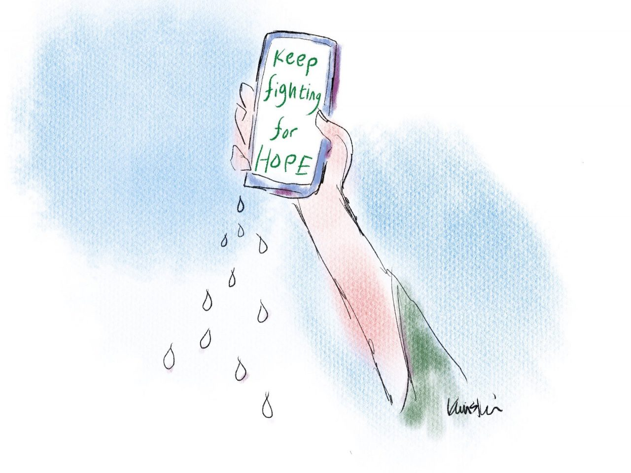 """A hand holds up a cellphone with text on it that reads """"Keep fighting for hope."""""""