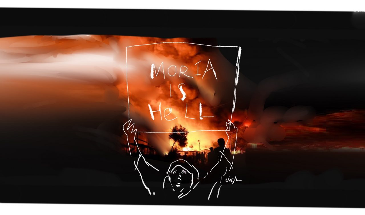 """Outline drawing of Karima holding a sign that reads """"Moria is hell."""" Behind her is a photo of the settlement on fire."""