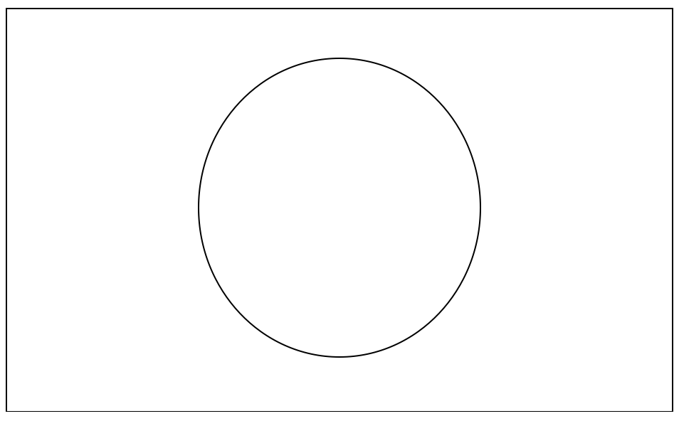 A large rectangle with a large oval in its centre.