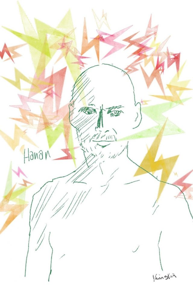 """Line drawing of a bald shirtless man labelled """"Hanan."""" Colourful bolts of lightning circle him."""