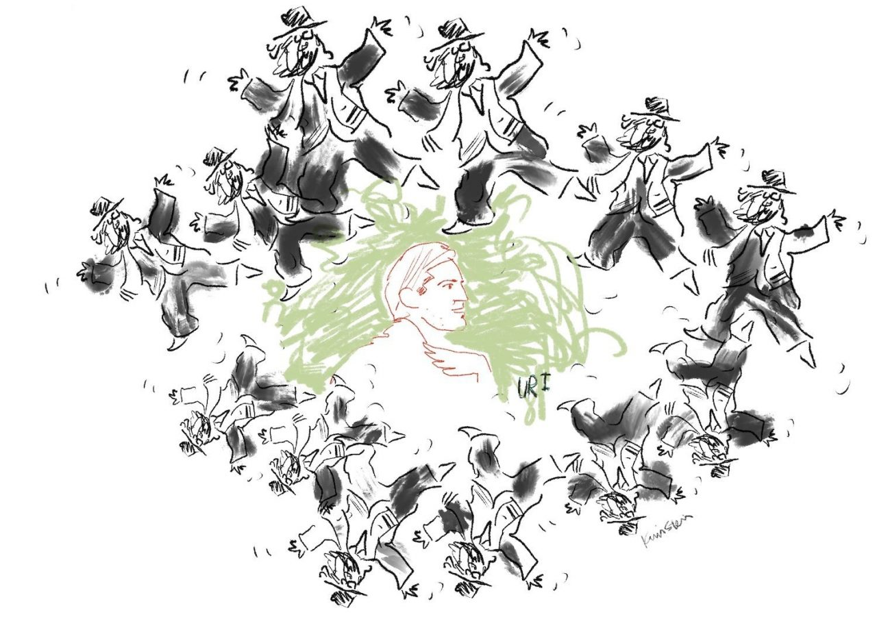 """Line drawing of a man in profile labelled """"Uri,"""" encircled by dancing rabbis."""