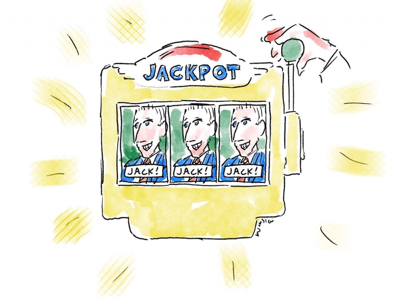 """Drawing of a slot machine, with three identical images of a man named """"Jack"""" on the tumblers. The slot machine says """"Jackpot"""" at the top."""